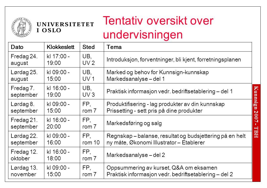 Kunnsign 2007 - TBH Tentativ oversikt over undervisningen DatoKlokkeslettStedTema Fredag 24.