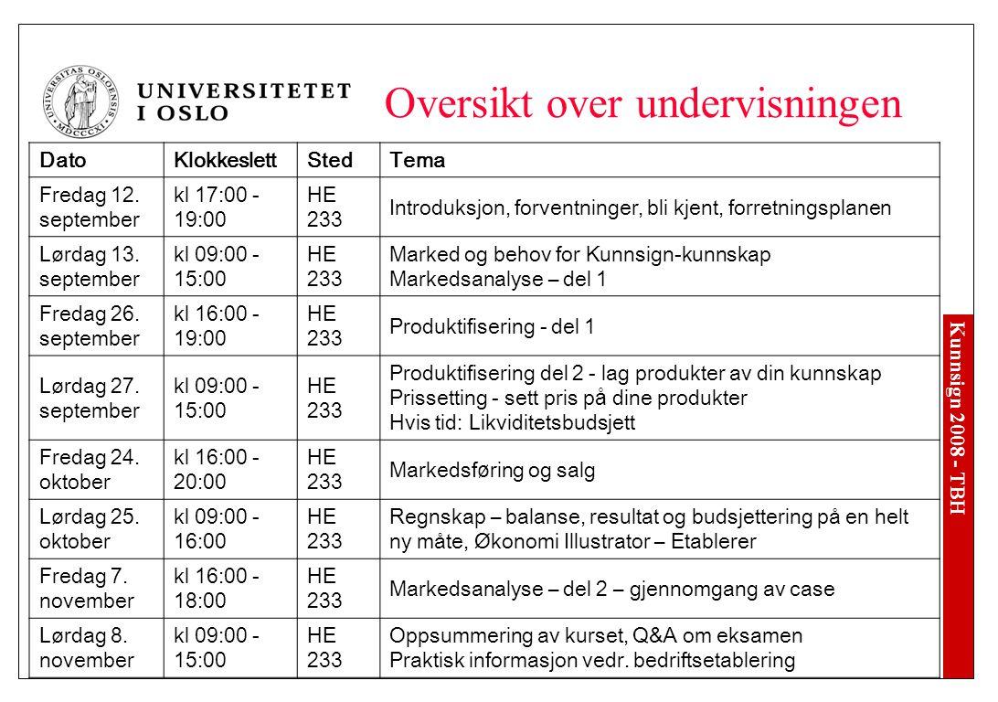 Kunnsign 2008 - TBH Oversikt over undervisningen DatoKlokkeslettStedTema Fredag 12.