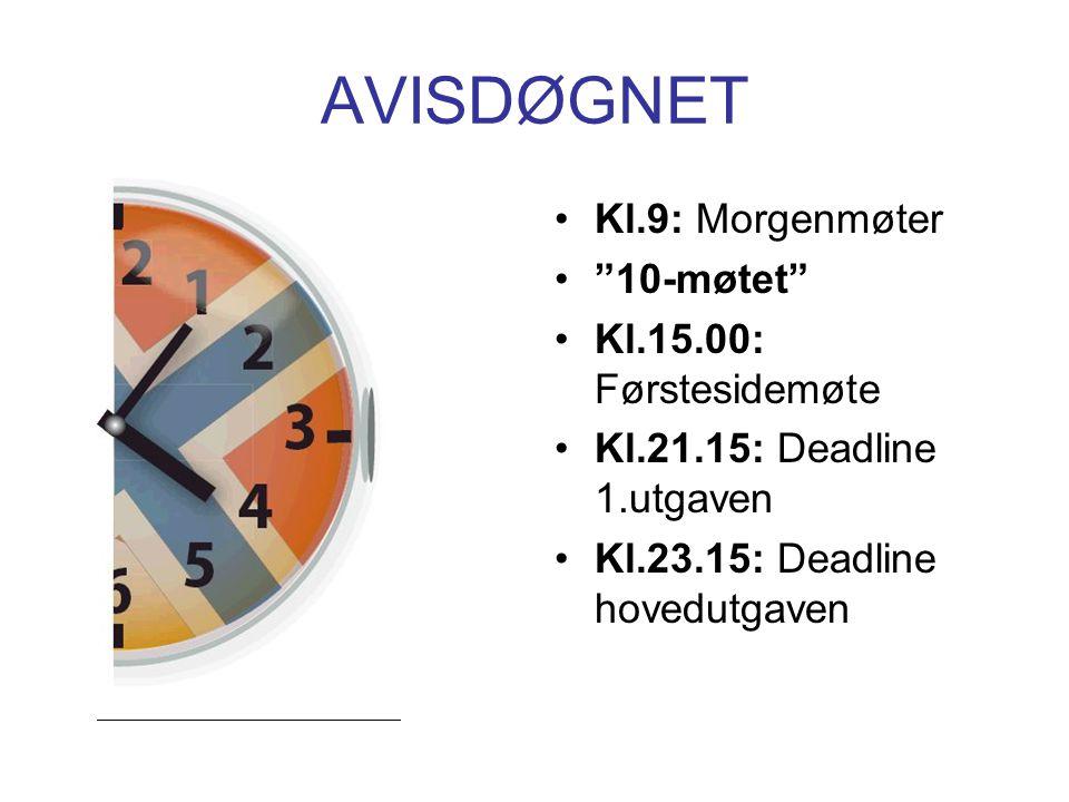 """AVISDØGNET Kl.9: Morgenmøter """"10-møtet"""" Kl.15.00: Førstesidemøte Kl.21.15: Deadline 1.utgaven Kl.23.15: Deadline hovedutgaven"""