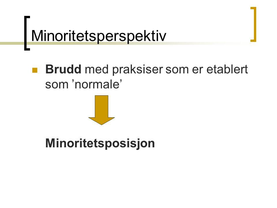 Minoritetsperspektiv Brudd med praksiser som er etablert som 'normale' Minoritetsposisjon