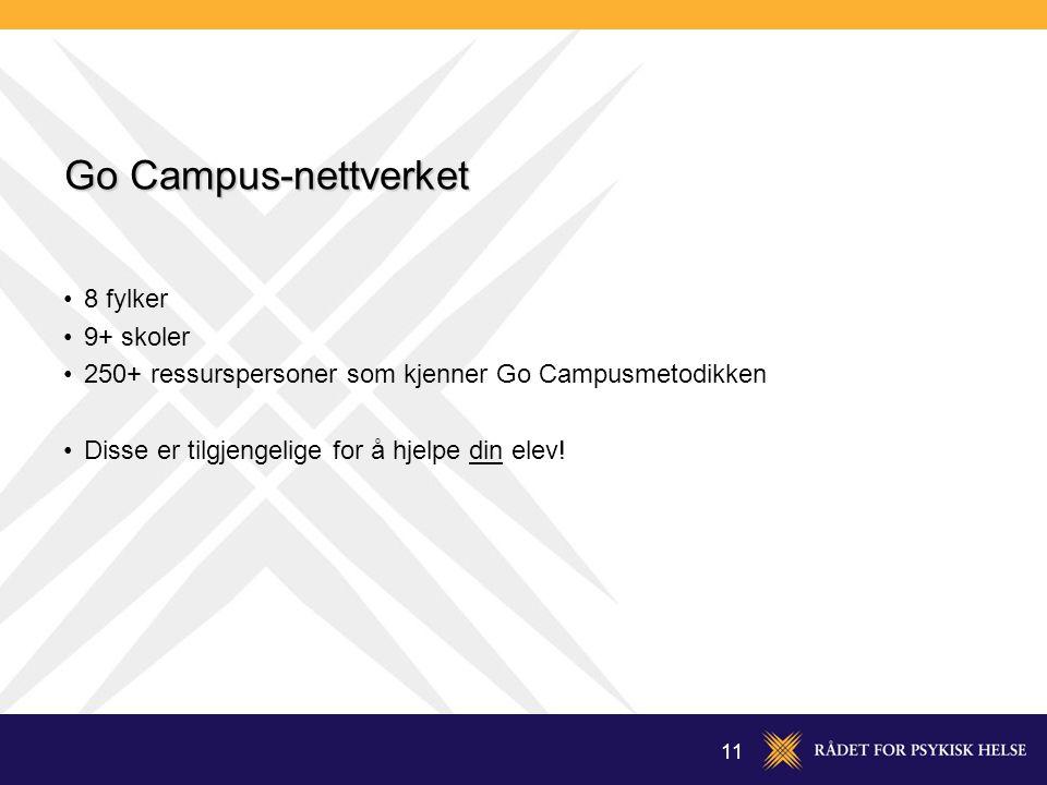 11 Go Campus-nettverket 8 fylker 9+ skoler 250+ ressurspersoner som kjenner Go Campusmetodikken Disse er tilgjengelige for å hjelpe din elev!