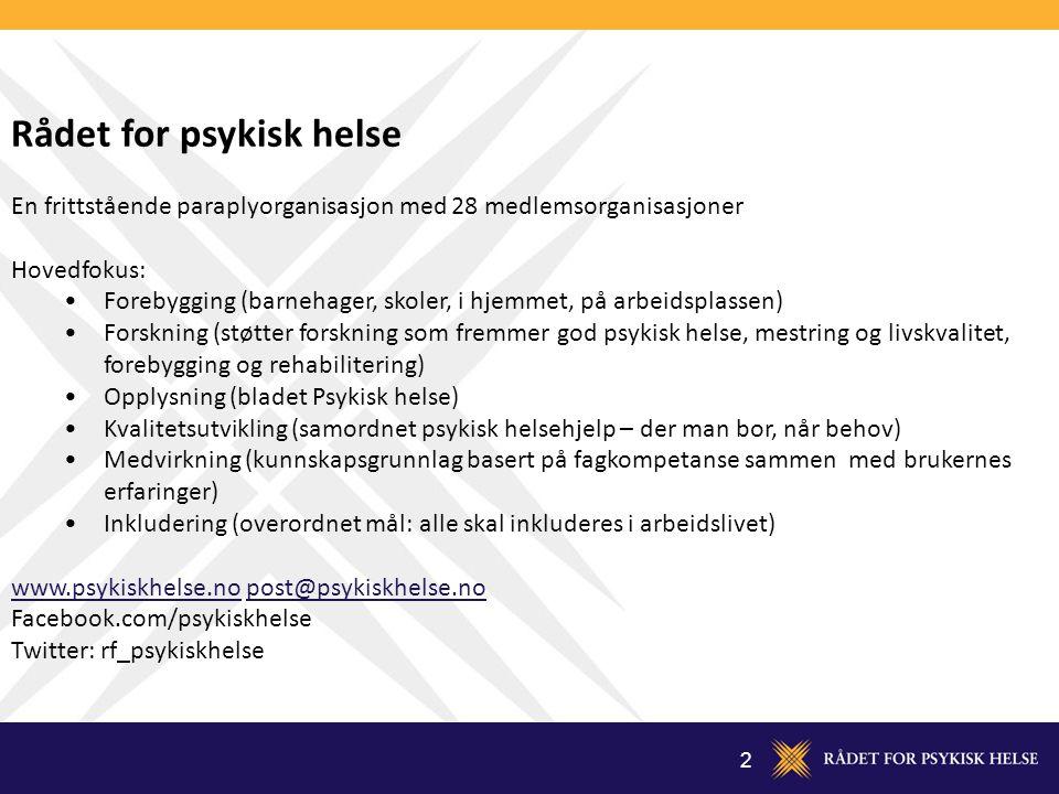 2 Rådet for psykisk helse En frittstående paraplyorganisasjon med 28 medlemsorganisasjoner Hovedfokus: Forebygging (barnehager, skoler, i hjemmet, på