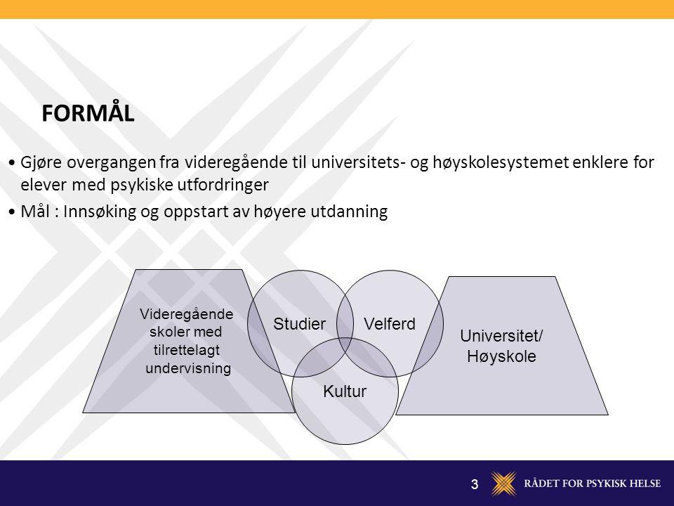 3 FORMÅL Videregående skoler med tilrettelagt undervisning Studier Kultur Velferd Universitet/ Høyskole Gjøre overgangen fra videregående til universi