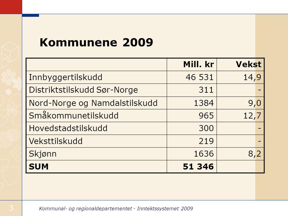 Kommunal- og regionaldepartementet - Inntektssystemet 2009 4 Fylkeskommunene 2009 Mill kr.Vekst Innbyggertilskudd15 96412,3 Nord-Norgetilskudd5014,4 Hovedstadstilskudd5054,5 Skjønnstilskudd8900,3 SUM17 85911,2