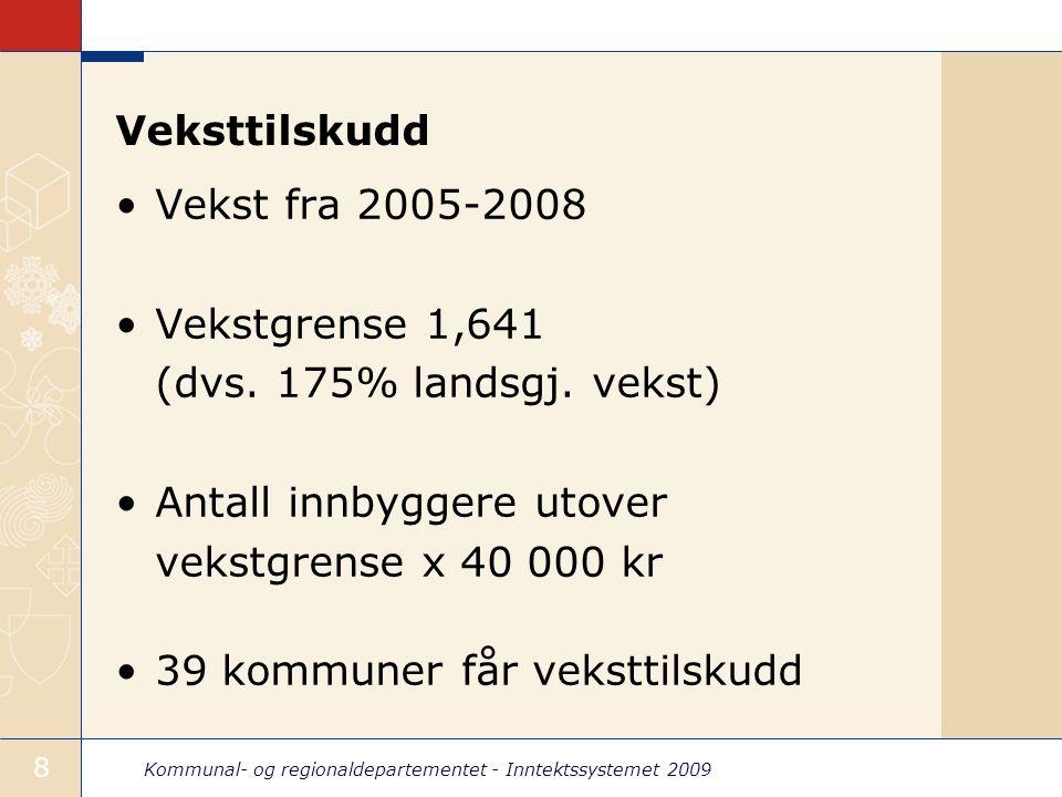 Kommunal- og regionaldepartementet - Inntektssystemet 2009 9 Ekstra skjønn til kommuner i Sør-Norge 100 mill.