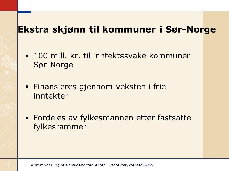 Kommunal- og regionaldepartementet - Inntektssystemet 2009 10 Fylkesvis fordeling - ekstra skjønn Sør-Norge Fylkesramme (mill.
