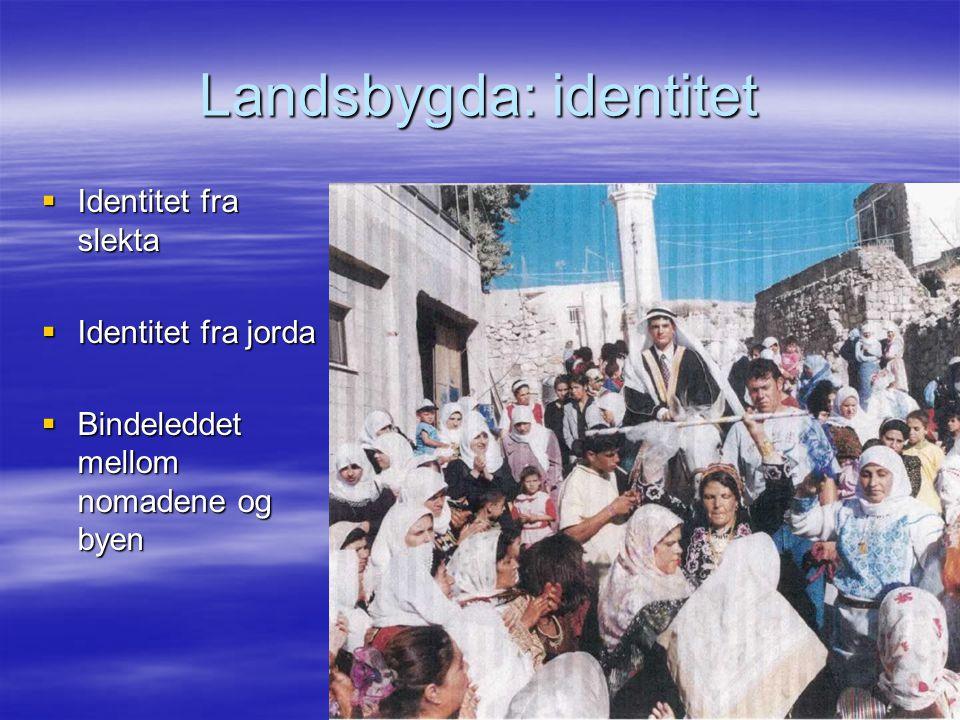 Landsbygda: identitet  Identitet fra slekta  Identitet fra jorda  Bindeleddet mellom nomadene og byen