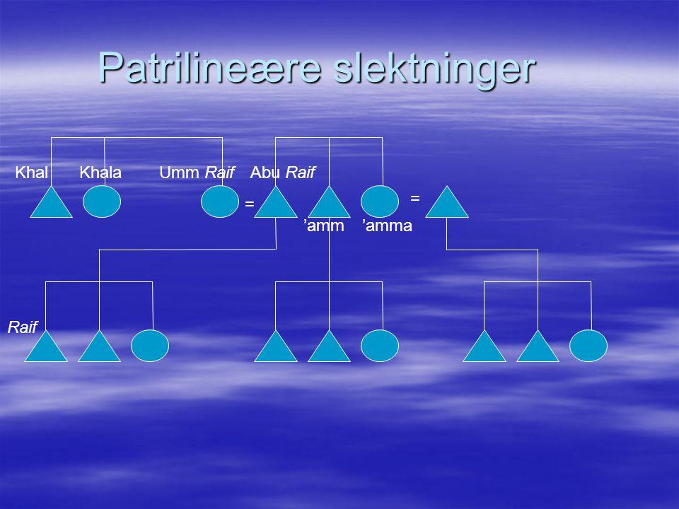 Patrilineære slektninger = Raif Umm RaifAbu RaifKhalKhala 'amm'amma =