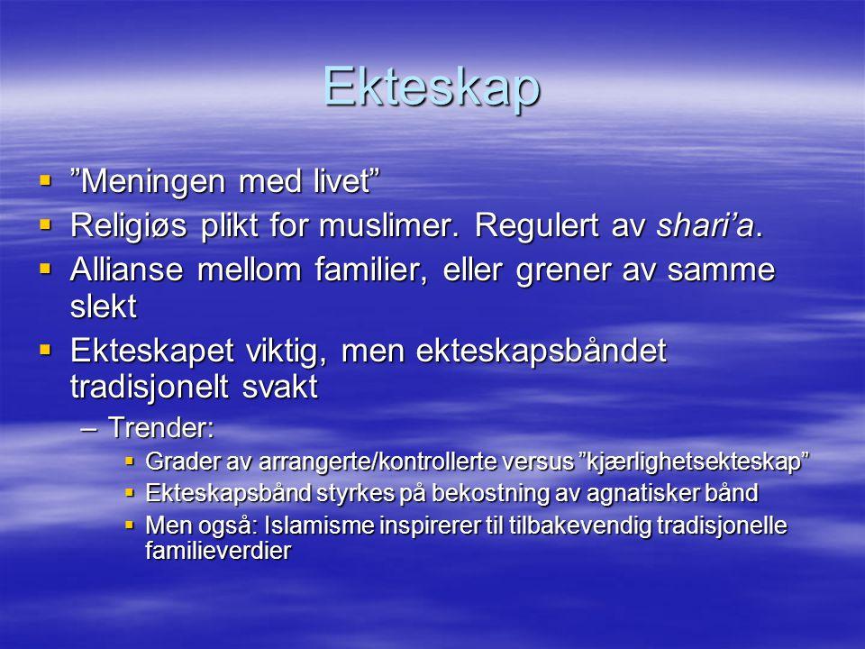 """Ekteskap  """"Meningen med livet""""  Religiøs plikt for muslimer. Regulert av shari'a.  Allianse mellom familier, eller grener av samme slekt  Ekteskap"""