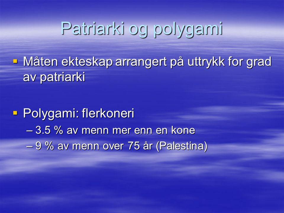 Patriarki og polygami  Måten ekteskap arrangert på uttrykk for grad av patriarki  Polygami: flerkoneri –3.5 % av menn mer enn en kone –9 % av menn o