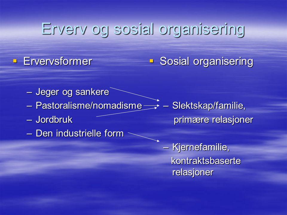 Erverv og sosial organisering  Ervervsformer –Jeger og sankere –Pastoralisme/nomadisme –Jordbruk –Den industrielle form  Sosial organisering –Slekts