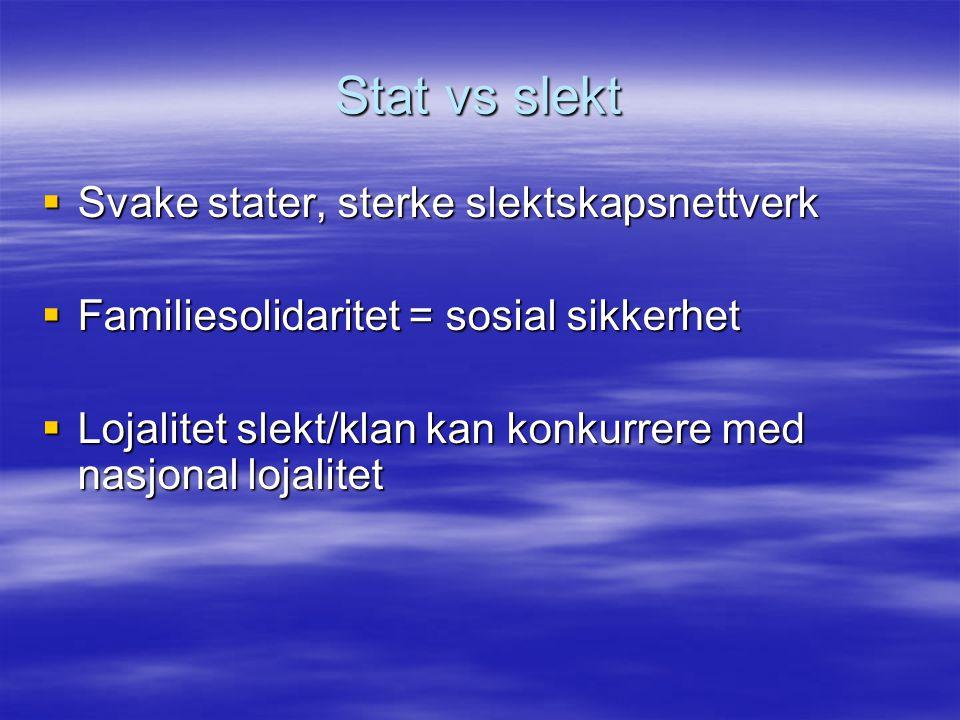 Stat vs slekt  Svake stater, sterke slektskapsnettverk  Familiesolidaritet = sosial sikkerhet  Lojalitet slekt/klan kan konkurrere med nasjonal loj