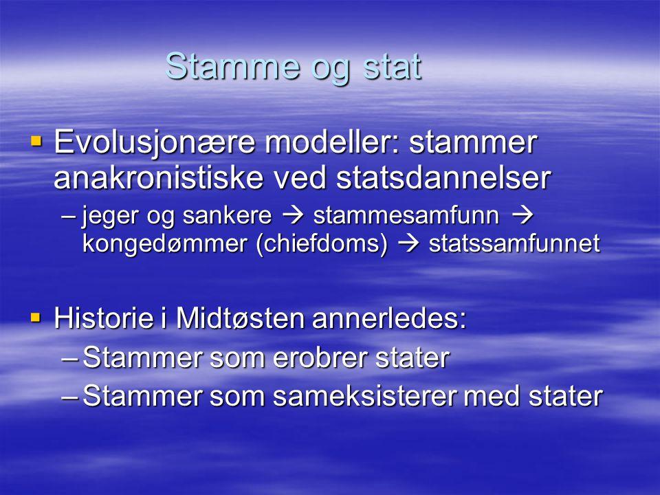 Stamme og stat  Evolusjonære modeller: stammer anakronistiske ved statsdannelser –jeger og sankere  stammesamfunn  kongedømmer (chiefdoms)  statss