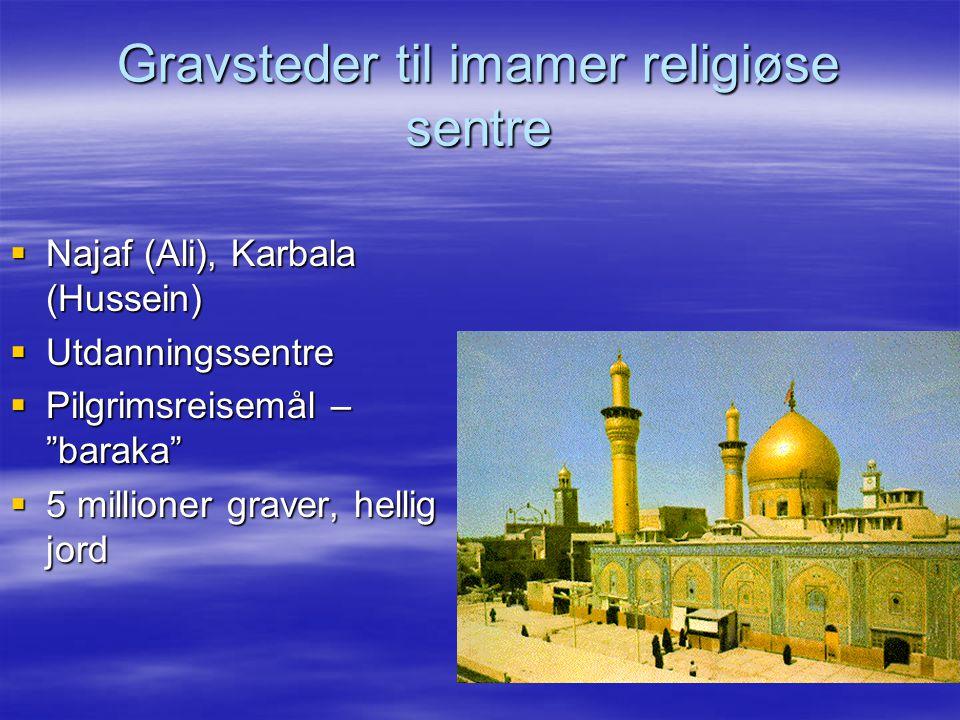 """Gravsteder til imamer religiøse sentre  Najaf (Ali), Karbala (Hussein)  Utdanningssentre  Pilgrimsreisemål – """"baraka""""  5 millioner graver, hellig"""