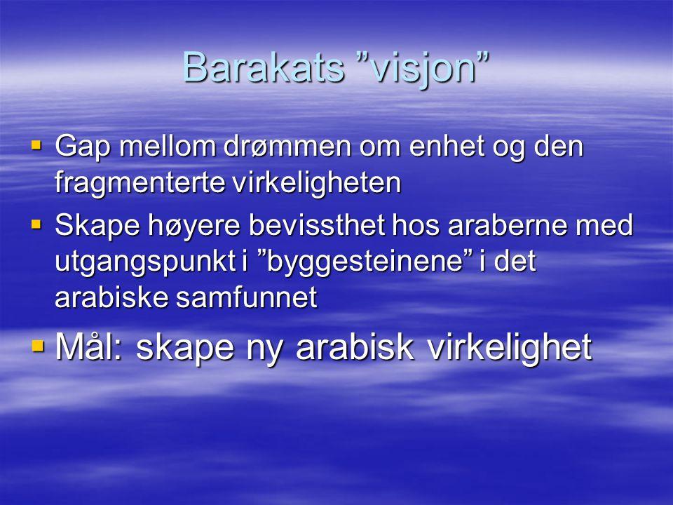 """Barakats """"visjon""""  Gap mellom drømmen om enhet og den fragmenterte virkeligheten  Skape høyere bevissthet hos araberne med utgangspunkt i """"byggestei"""