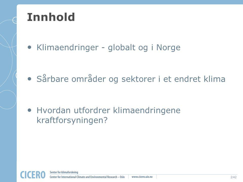 2/42 Innhold Klimaendringer - globalt og i Norge Sårbare områder og sektorer i et endret klima Hvordan utfordrer klimaendringene kraftforsyningen?