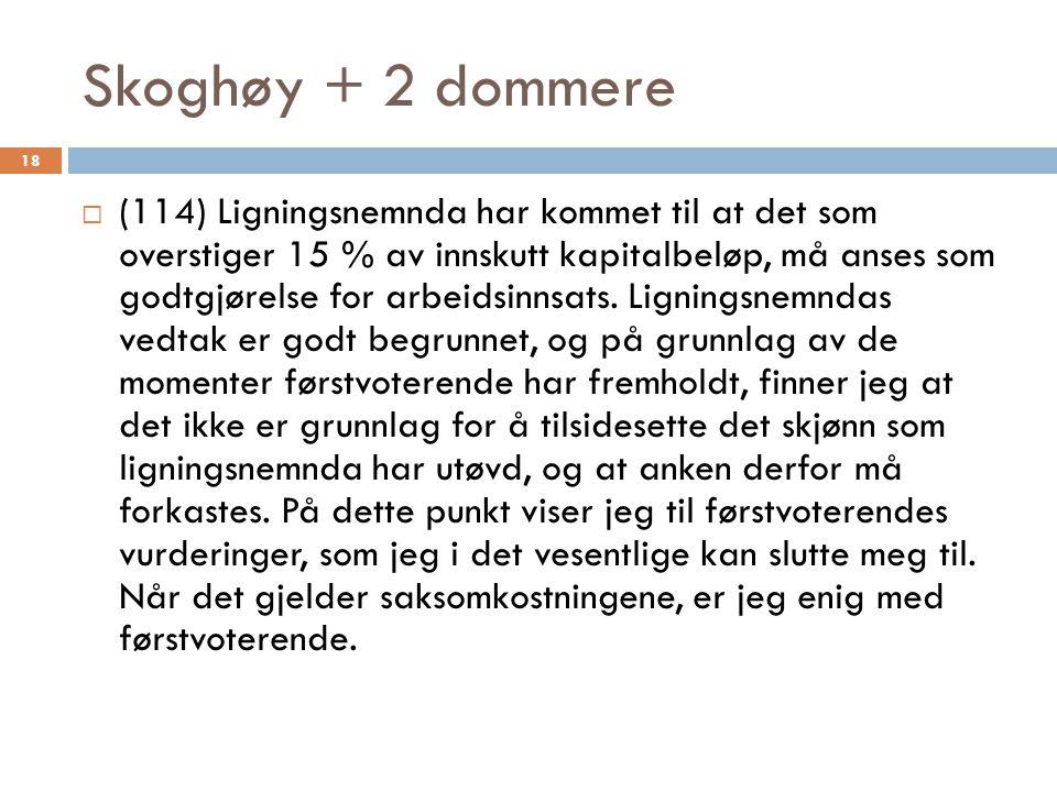 Skoghøy + 2 dommere  (114) Ligningsnemnda har kommet til at det som overstiger 15 % av innskutt kapitalbeløp, må anses som godtgjørelse for arbeidsinnsats.