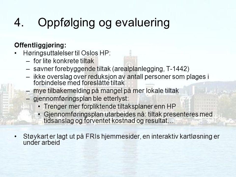 4.Oppfølging og evaluering Offentliggjøring: Høringsuttalelser til Oslos HP: –for lite konkrete tiltak –savner forebyggende tiltak (arealplanlegging,