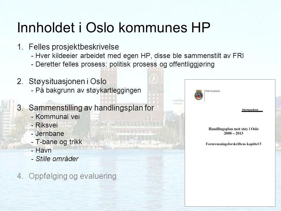 Innholdet i Oslo kommunes HP 1.Felles prosjektbeskrivelse - Hver kildeeier arbeidet med egen HP, disse ble sammenstilt av FRI - Deretter felles proses