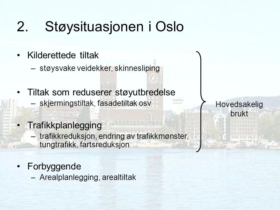 2.Støysituasjonen i Oslo Kilderettede tiltak –støysvake veidekker, skinnesliping Tiltak som reduserer støyutbredelse –skjermingstiltak, fasadetiltak o