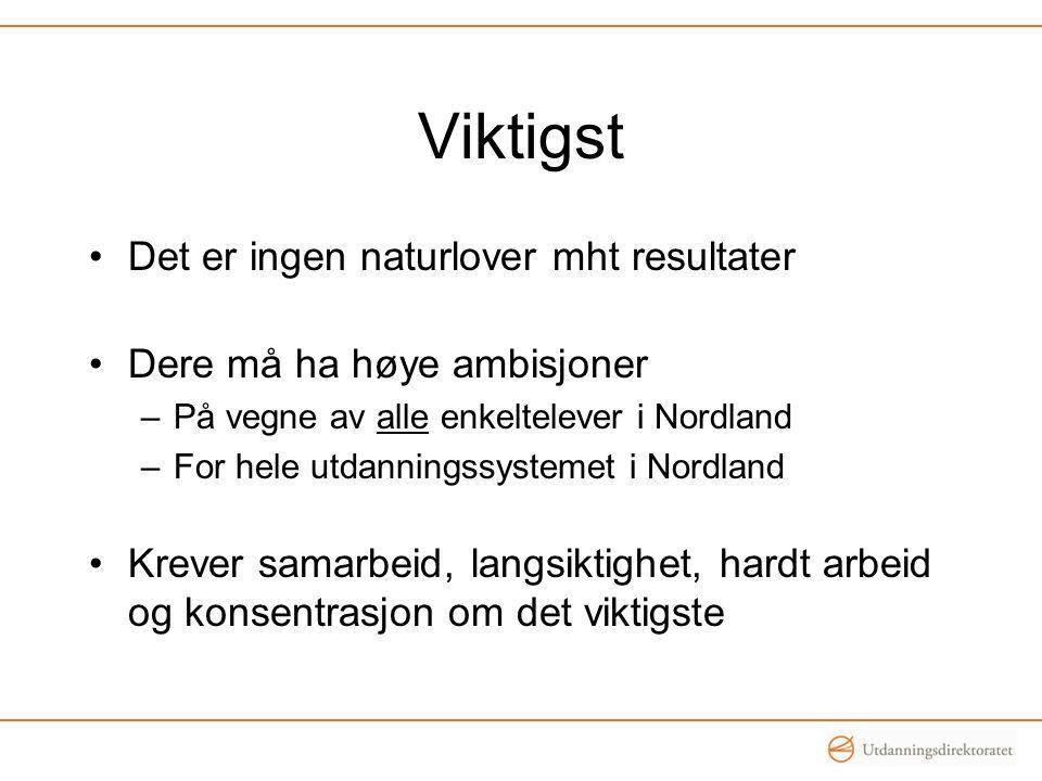 Viktigst Det er ingen naturlover mht resultater Dere må ha høye ambisjoner –På vegne av alle enkeltelever i Nordland –For hele utdanningssystemet i No