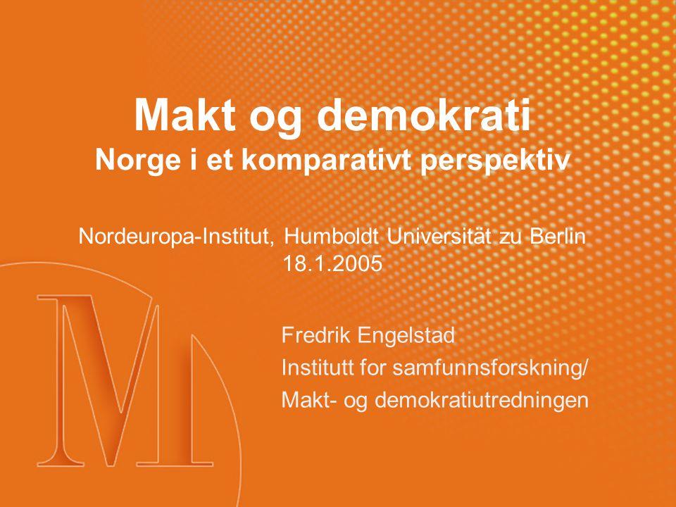 Den første norske maktutredningen, 1972-1982 °Hovedvekt på 1970-årenes norske korporativisme: Fire typer av institusjoner og samspillet mellom dem: °Statsforvaltning °Interesseorganisasjoner °Bedrifter °Massemedier °Lite eller ingen ting om: °Politiske organer og organisasjoner °Arbeidsliv °Fagorganisasjoner °Kjønnsrelasjoner °Velferdsordninger