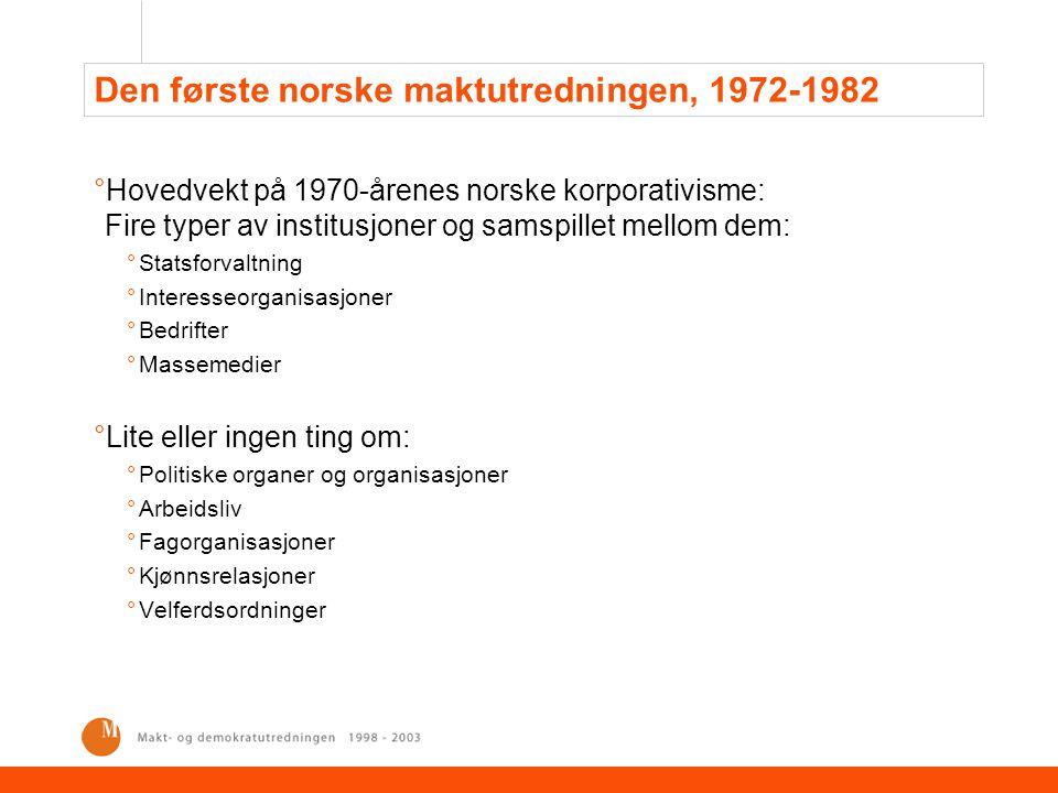 Fra maktutredning til maktutredning °Endringer i den norske korporativismen: °Fra Forhandlingsøkonomi og blandingsadministrasjon til Marked og lobbyering °Fra Den segmenterte stat til Den fragmenterte stat °Endringer i politikkens innhold og i borgernes deltakelsesmønstre °Internasjonalisering °Individualisering av deltakelse °Oljestatens velferds- og fordelingspolitikk