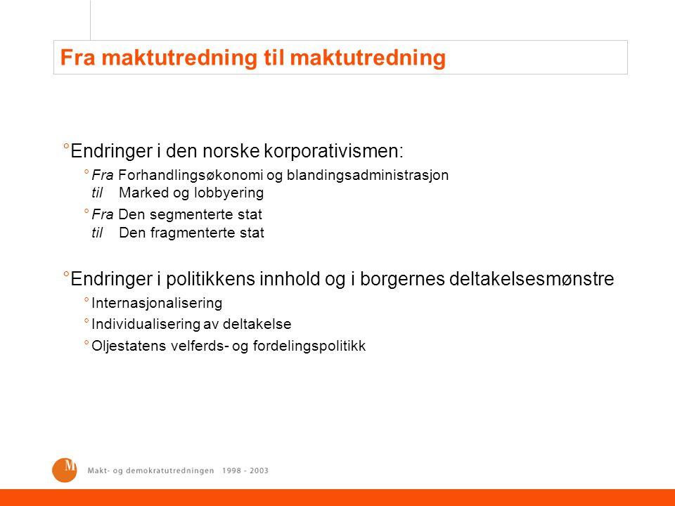 Demokrati och makt i Sverige, 1985-1990 °Mer lik den andre norske maktutredningen enn den første °Tematisk bredde – tatt med: °Kjønnsrelasjoner – genussystem °Sivilsamfunn og borgerorganisering °Medborgerperspektiv °Demokrati får minst like sterk vekt som makt °To sider av demokratiet: samfunnsmessig og individuelt °Vekt på demokratiets individuelle sider