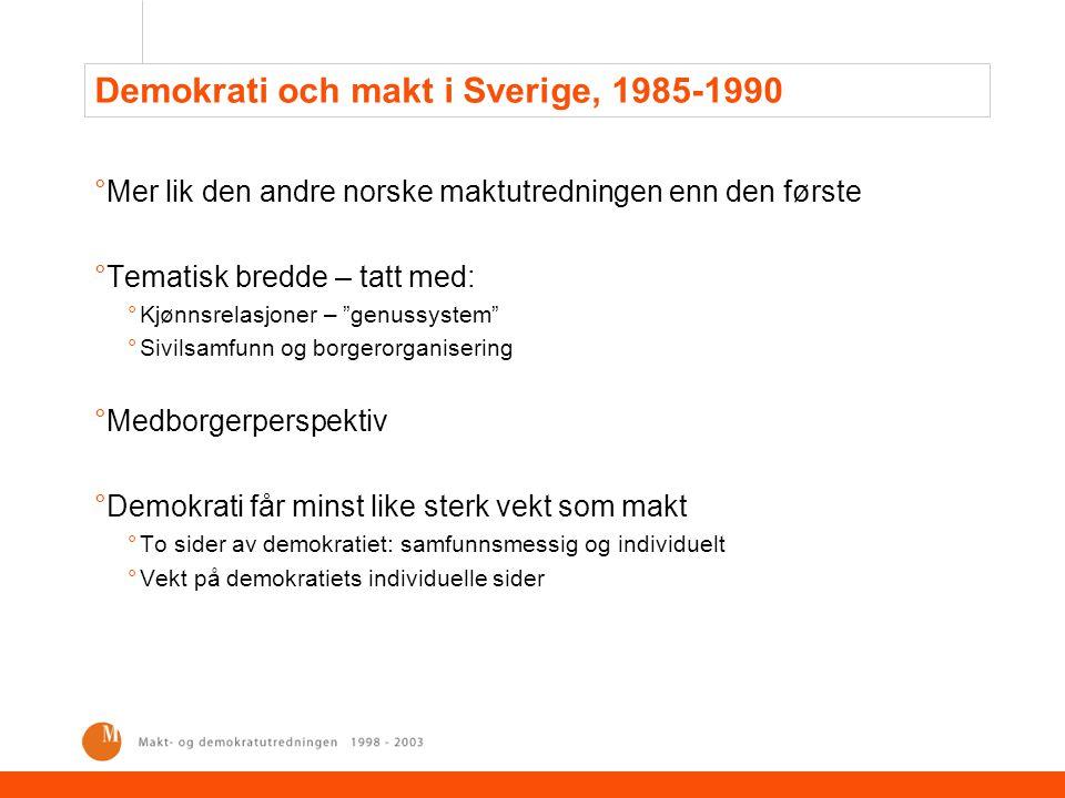 """Demokrati och makt i Sverige, 1985-1990 °Mer lik den andre norske maktutredningen enn den første °Tematisk bredde – tatt med: °Kjønnsrelasjoner – """"gen"""