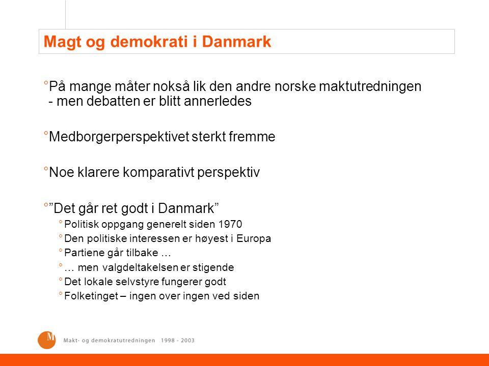 Magt og demokrati i Danmark °På mange måter nokså lik den andre norske maktutredningen - men debatten er blitt annerledes °Medborgerperspektivet sterk
