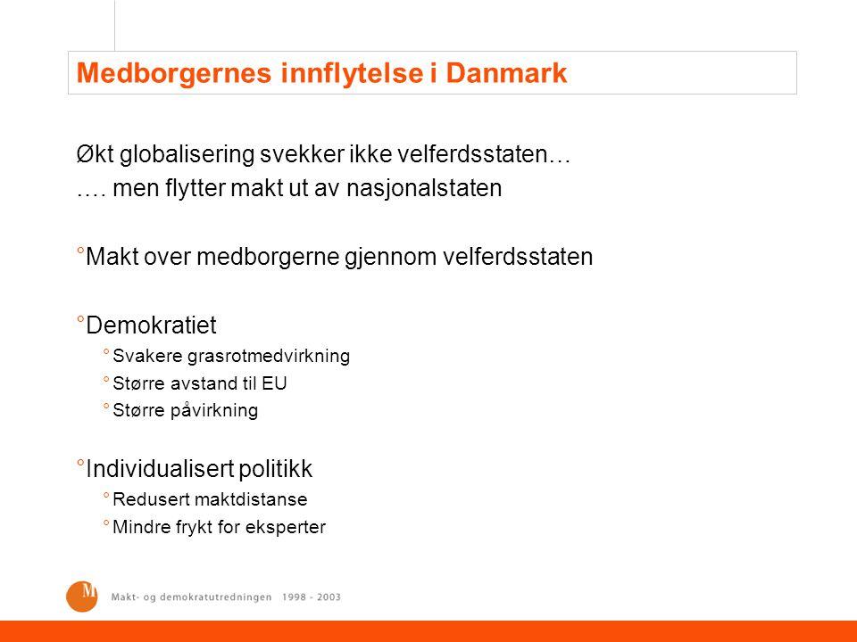 Medborgernes innflytelse i Danmark Økt globalisering svekker ikke velferdsstaten… …. men flytter makt ut av nasjonalstaten °Makt over medborgerne gjen