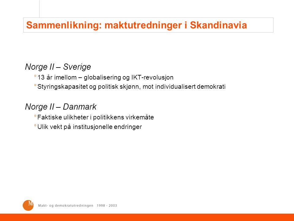 Sammenlikning: maktutredninger i Skandinavia Norge II – Sverige °13 år imellom – globalisering og IKT-revolusjon °Styringskapasitet og politisk skjønn