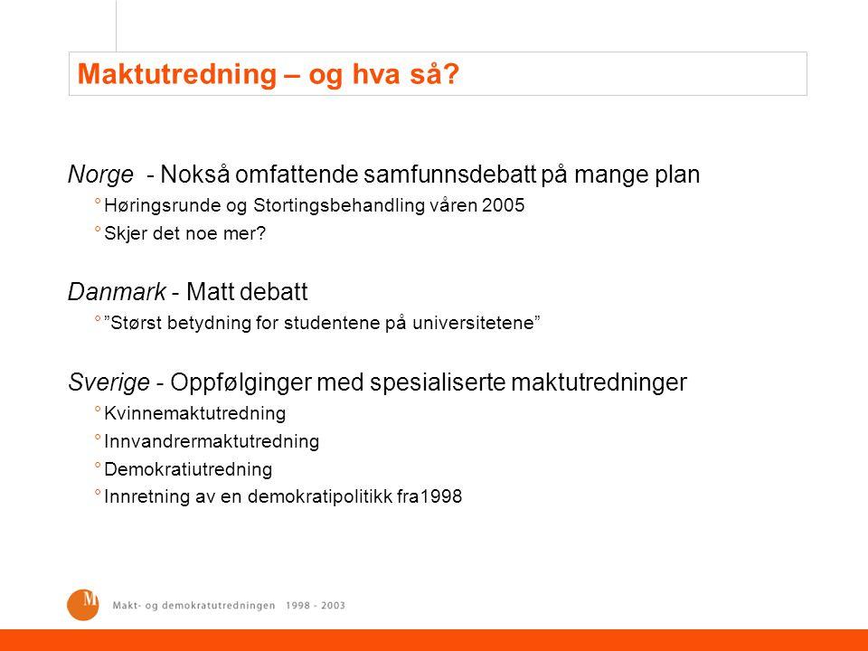 Maktutredning – og hva så? Norge - Nokså omfattende samfunnsdebatt på mange plan °Høringsrunde og Stortingsbehandling våren 2005 °Skjer det noe mer? D