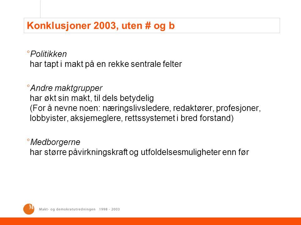 Den svenske samfunnsmodellen i endring: Svakere styring, økende individualisering °Medborgernes makt °Mindre økonomiske skiller, men sterkere opplevelse av maktforskjeller °Makt gjennom delegering og valg °Mindre kjønnsskiller, men langt fra borte °Maktstrukturen °To eliter: borgerlige og folkelige organisasjoner °Større kompleksitet i politiske skillelinjer °Stopp i statlig ekspansjon °Demokratiet °Svekkede partier °Økt autonomi