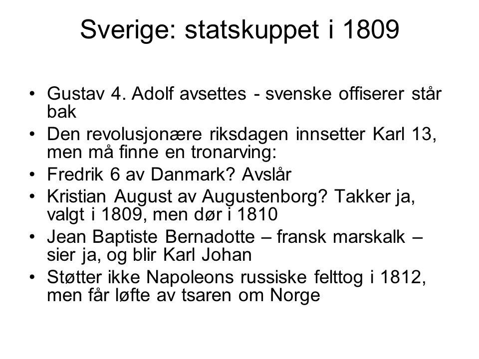 Sverige: statskuppet i 1809 Gustav 4. Adolf avsettes - svenske offiserer står bak Den revolusjonære riksdagen innsetter Karl 13, men må finne en trona