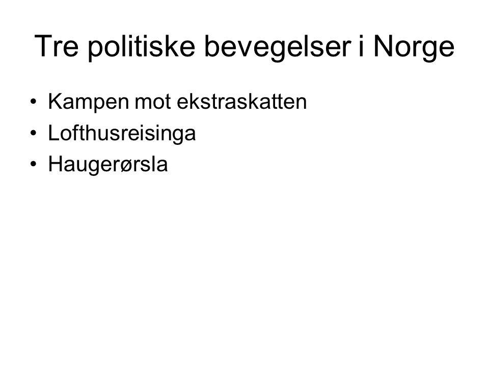 Tre politiske bevegelser i Norge Kampen mot ekstraskatten Lofthusreisinga Haugerørsla