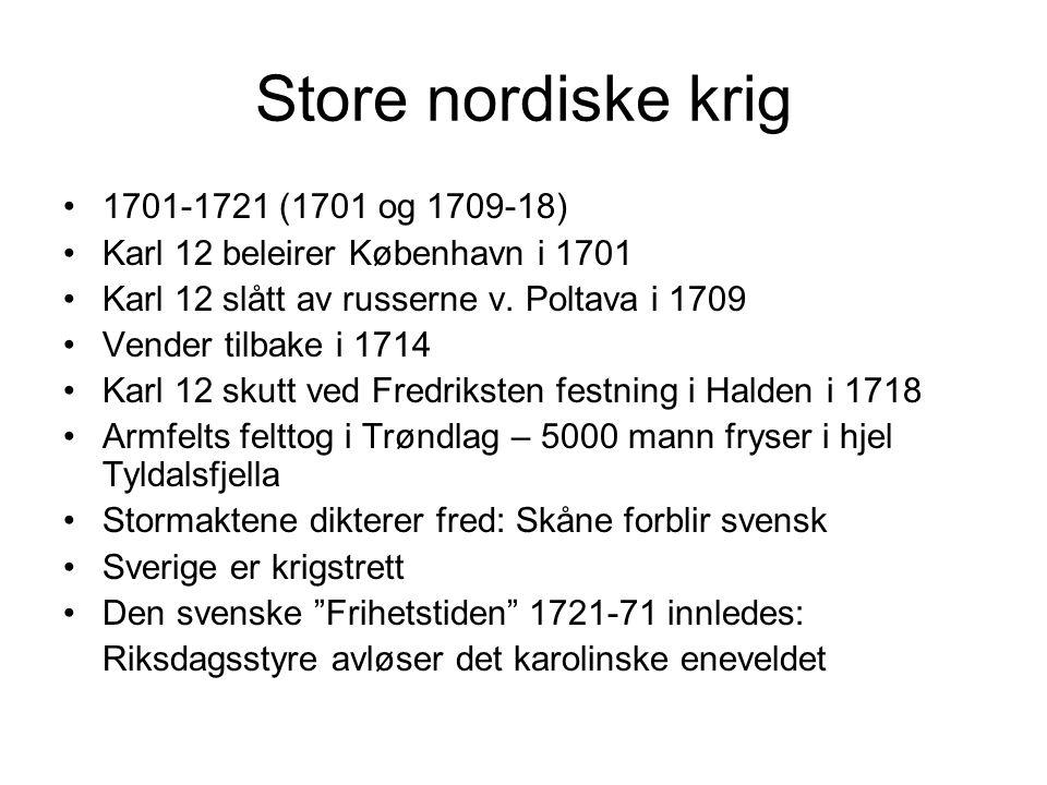 Store nordiske krig 1701-1721 (1701 og 1709-18) Karl 12 beleirer København i 1701 Karl 12 slått av russerne v.
