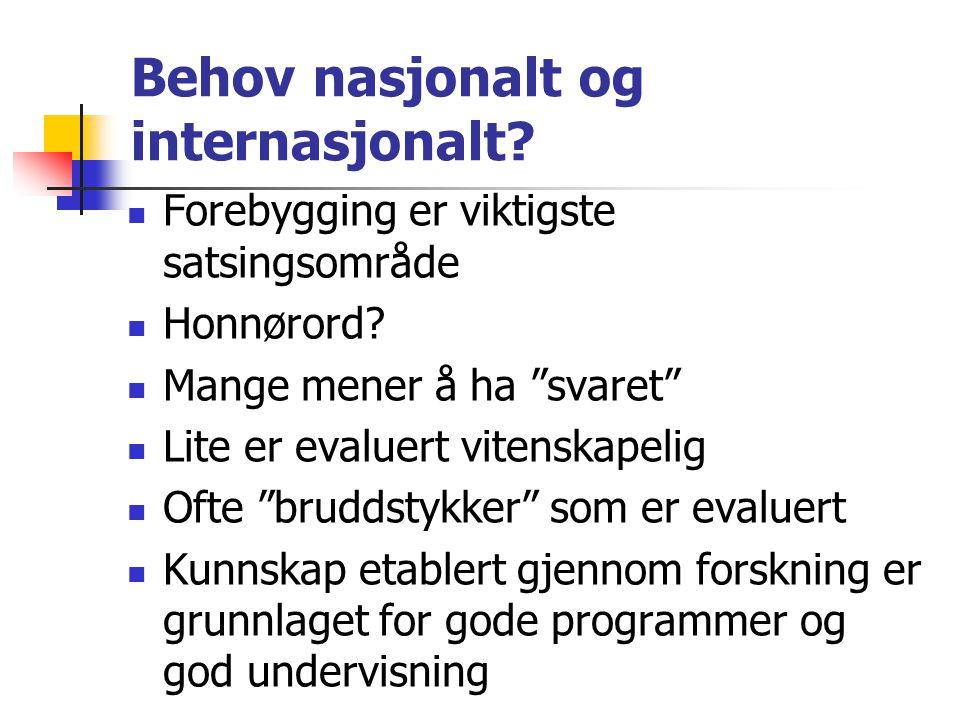 """Behov nasjonalt og internasjonalt? Forebygging er viktigste satsingsområde Honnørord? Mange mener å ha """"svaret"""" Lite er evaluert vitenskapelig Ofte """"b"""