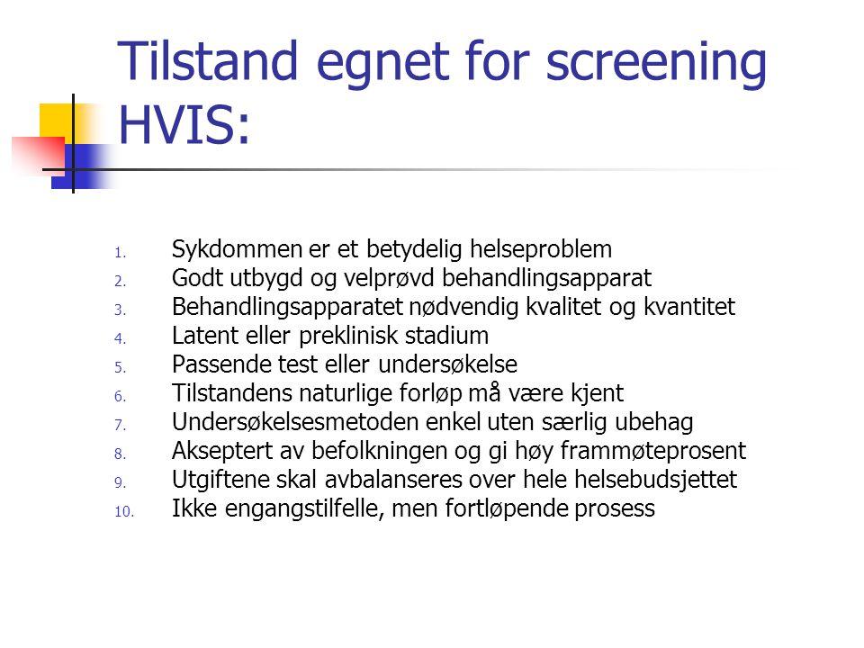 Tilstand egnet for screening HVIS: 1. Sykdommen er et betydelig helseproblem 2. Godt utbygd og velprøvd behandlingsapparat 3. Behandlingsapparatet nød