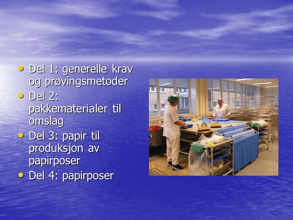 Del 1: generelle krav og prøvingsmetoder Del 1: generelle krav og prøvingsmetoder Del 2: pakkematerialer til omslag Del 2: pakkematerialer til omslag