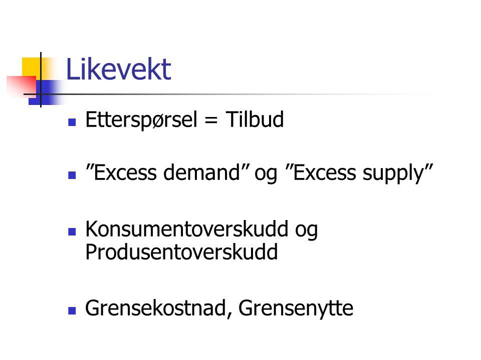 """Likevekt Etterspørsel = Tilbud """"Excess demand"""" og """"Excess supply"""" Konsumentoverskudd og Produsentoverskudd Grensekostnad, Grensenytte"""