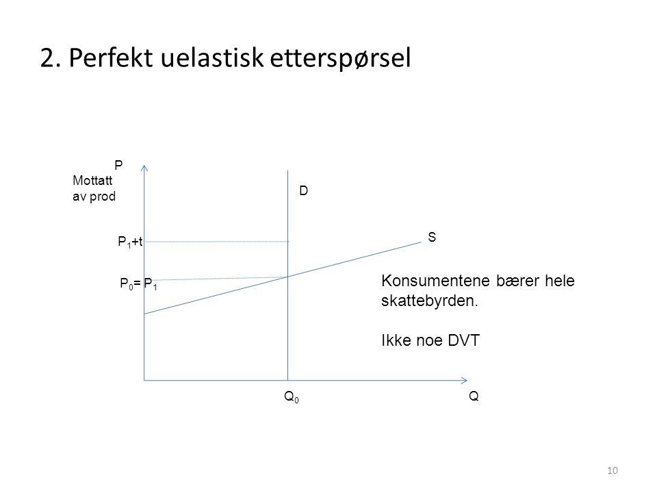 2. Perfekt uelastisk etterspørsel 10 P Q P 0 = P 1 P 1 +t Q0Q0 Konsumentene bærer hele skattebyrden. Ikke noe DVT D S Mottatt av prod