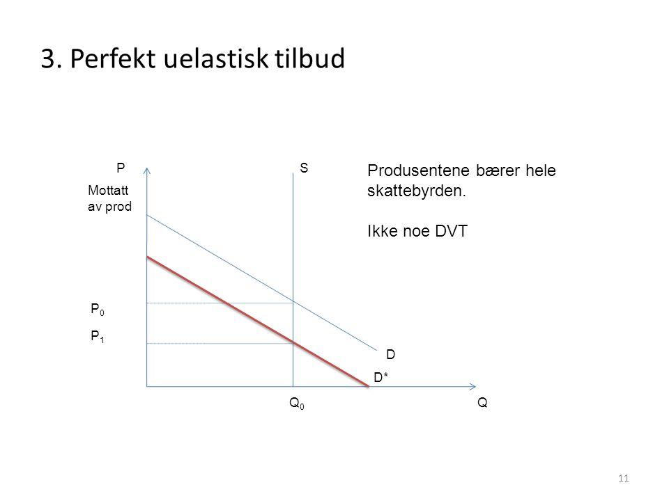 3. Perfekt uelastisk tilbud 11 P Q P0P0 Q0Q0 Produsentene bærer hele skattebyrden. Ikke noe DVT S D Mottatt av prod D* P1P1