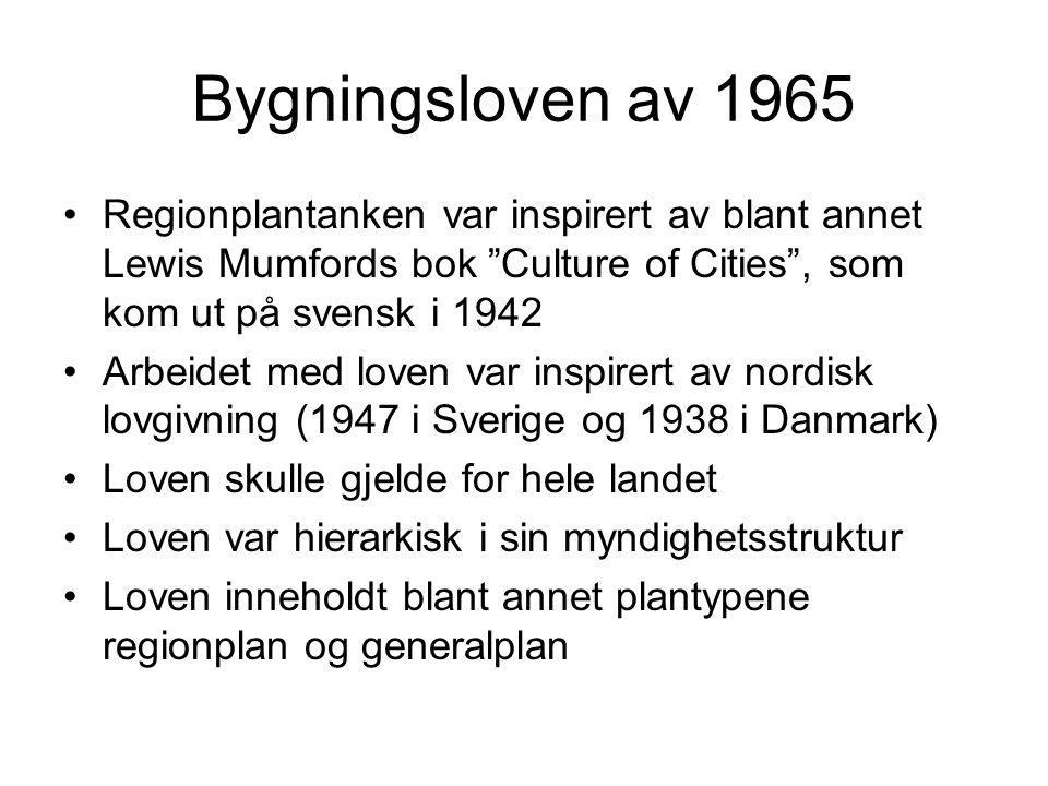 Bygningsloven av 1965 Regionplantanken var inspirert av blant annet Lewis Mumfords bok Culture of Cities , som kom ut på svensk i 1942 Arbeidet med loven var inspirert av nordisk lovgivning (1947 i Sverige og 1938 i Danmark) Loven skulle gjelde for hele landet Loven var hierarkisk i sin myndighetsstruktur Loven inneholdt blant annet plantypene regionplan og generalplan