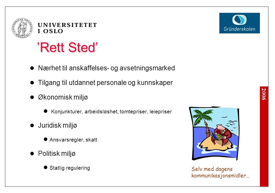 2006 'Rett Sted' Nærhet til anskaffelses- og avsetningsmarked Tilgang til utdannet personale og kunnskaper Økonomisk miljø Konjunkturer, arbeidsløshet