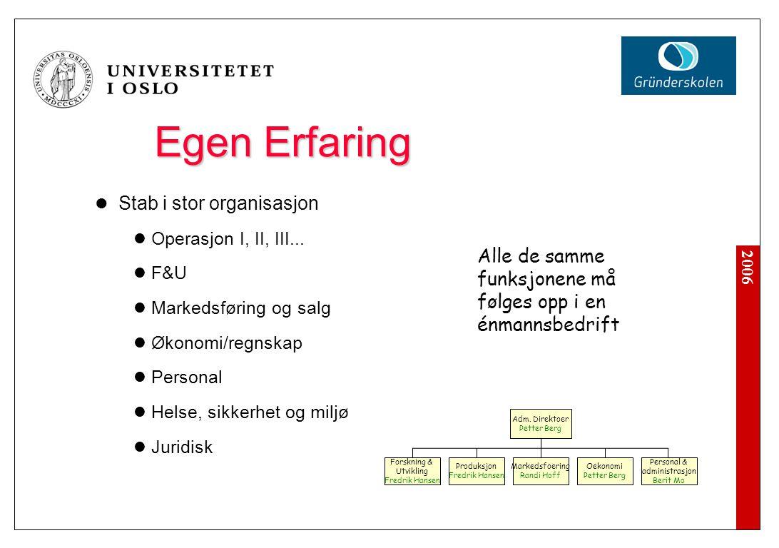 2006 Egen Erfaring Stab i stor organisasjon Operasjon I, II, III... F&U Markedsføring og salg Økonomi/regnskap Personal Helse, sikkerhet og miljø Juri