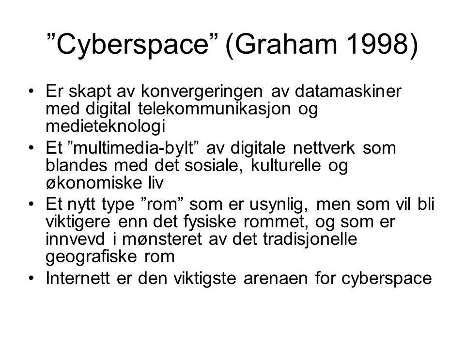 Cyberspace (Graham 1998) Er skapt av konvergeringen av datamaskiner med digital telekommunikasjon og medieteknologi Et multimedia-bylt av digitale nettverk som blandes med det sosiale, kulturelle og økonomiske liv Et nytt type rom som er usynlig, men som vil bli viktigere enn det fysiske rommet, og som er innvevd i mønsteret av det tradisjonelle geografiske rom Internett er den viktigste arenaen for cyberspace