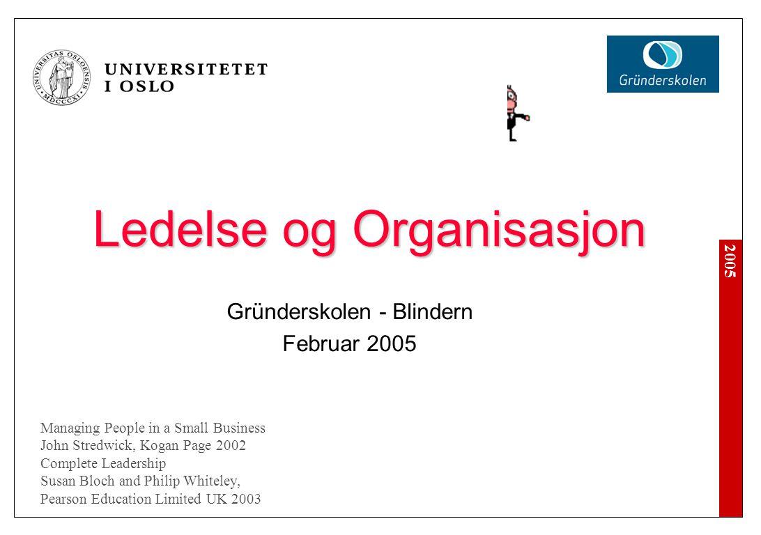 2005 Ledelse og Organisasjon Forretningssystem og organisasjon Ledelse, ledergruppen (Dream team) Rekruttering Opplæring og utvikling 'Performance' Lønn og kompensasjon 'Trange tider'