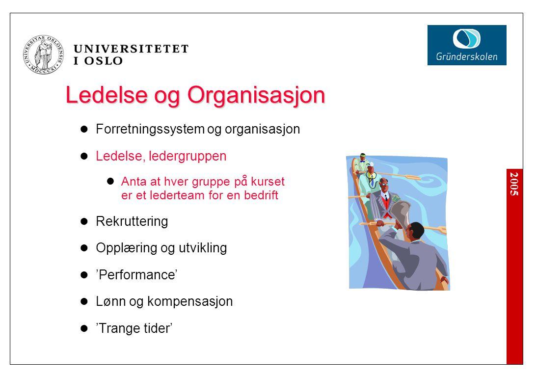 2005 Ledelse og Organisasjon Forretningssystem og organisasjon Ledelse, ledergruppen Anta at hver gruppe p å kurset er et lederteam for en bedrift Rek