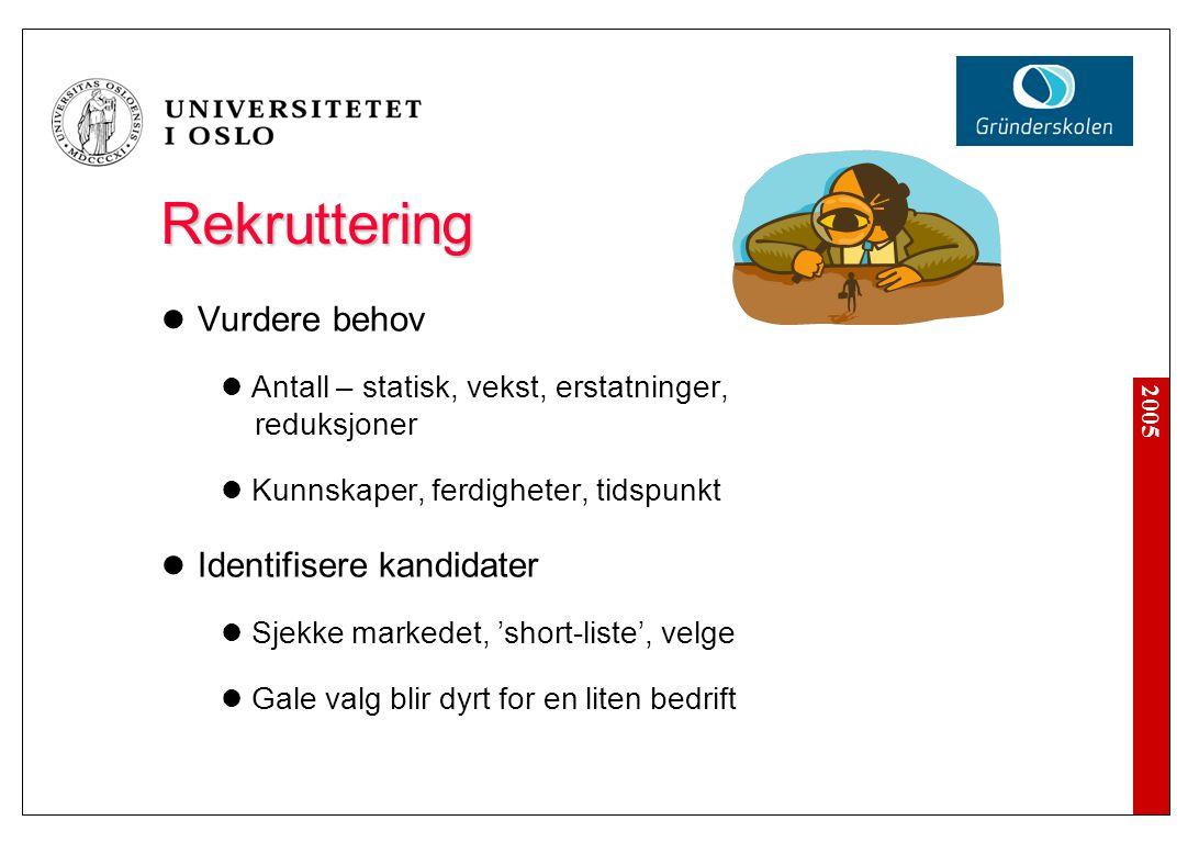2005 Rekruttering Rekruttering Vurdere behov Antall – statisk, vekst, erstatninger, reduksjoner Kunnskaper, ferdigheter, tidspunkt Identifisere kandid